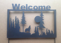 Welcome Sign Wolf Garden Stake (S3)