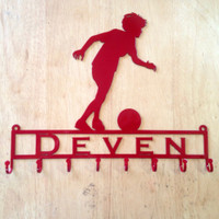 Medal Holder with Soccer Player Running with Ball with Custom Text Field and 8 Hooks   (Z22)