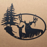 Big Buck with Doe Metal Wall Art (N6)