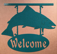 Salmon Welcome Sign Metal Wall Art (F18)