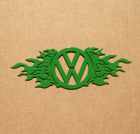 VW Emblem with Flames Medal Wall Art (P17)