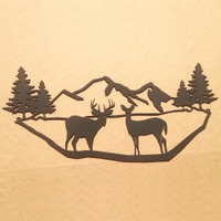 Mountains with Deer Metal Wall Art (N5)