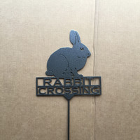 Rabbit Crossing Metal Garden Stake (Y17)