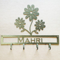 Flower Key Holder with Custom Text Metal (D21)