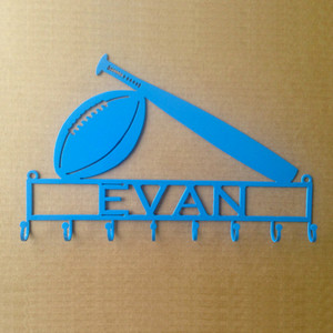 Football/Baseball Personalized Text Box and 8 Hooks