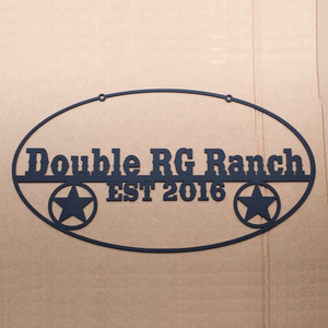 Ranch Sign with Wagon Wheels