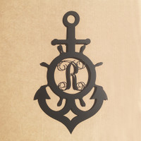 Ships Wheel And Anchor With Vine Monogram Metal 14 Gauge Steel (S22)