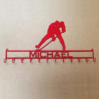 Metal Art Hockey Player Medal Rack with Custom Text (P18)
