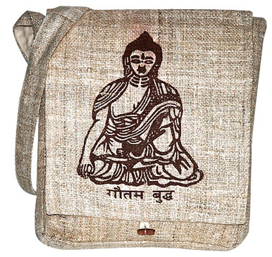 Buddha screen print on hand woven Hemp from Nepal