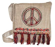 Hemp messenger bag with beautiful silk fringe and Peace sign