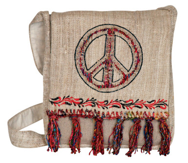 Hemp messenger bag with beautiful silk fringe and Peace sign