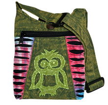 "X4-11  -  Small Owl Hand Bag Assorted Colors 8"" x 9"""