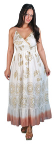 LM-08  -  Long Gold Printed Harem Dress