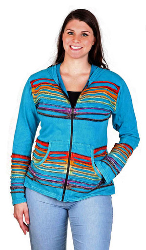 Long Sleeve Hoodie with front zipper, pockets and rainbow cut work