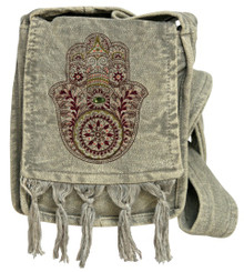 Small Cotton bag with Humsa Print and a beautiful bead for the wisdom eye