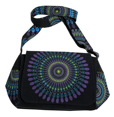 Shoulder purse with Kaleidoscope print on front flap. 2 side pockets and adjustable strap