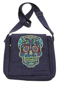 Day of the Dead purse with great embroidery on flap - zipper close