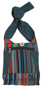 Small bag with beautiful Nepali Fabric - zipper pocket and zipper close
