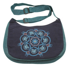 Ladies bag with adjustable strap and zipper close and a fantastic Mandala print/embroidery on front