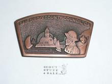 RARE San Diego County Boy Scout Council Copper Color Metal Belt Buckle