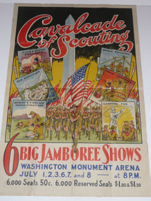 "RARE 1937 Boy Scout National Jamboree ""Cavalcade of Scouting"" Shows Poster"