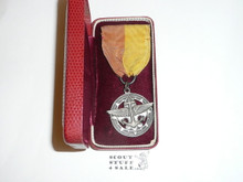Explorer Silver Award Medal, Type 1, 1940's, Lite wear with some fade to ribbon, in original Box, STERLING Silver with Robbins Hallmark