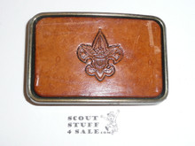 Official Boy Scout Leather Belt Buckle, used