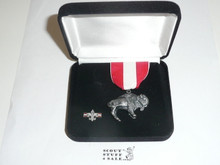 Silver Buffalo Award With Lapel Pin, In Presentation Box, Sterling Silver