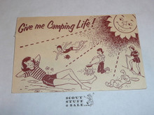 Girl Scout Post card, Give Me Camping Life, 1962