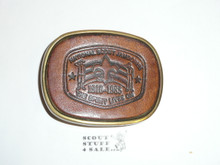 1985 National Jamboree Leather Belt Buckle, lite wear