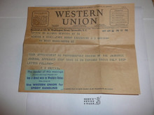 1937 National Jamboree Telegram from E.S. Martin asking for Staff Member's Medical and application
