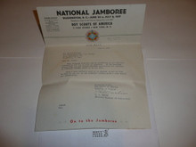 1937 National Jamboree Letter from E.S. Martin to Staff member #2