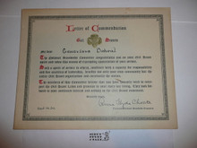 1930 Girl Scout Letter of Commendation Certificate