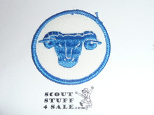 Ram Patrol Medallion, White Twill with paper back, 1972-1989