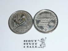 1952 Freedom Foundation Boy Scout George Washington Coin / Token, Chrome finish