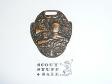 Bronze Boy Scout Watch Fob, Crossed Flags, Rifle, and Bugle