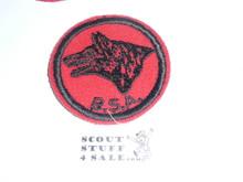 Wolf Patrol Medallion, Felt w/BSA black/White ring back, 1940-1955
