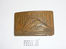 Philmont Scout Ranch, Heavy Brass Buckle, used and missin post to secure to belt hole when worn
