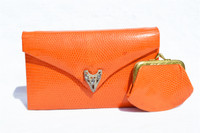 Orange JEWELED 1970's LIZARD Skin CLUTCH Shoulder Evening Bag - LA JEUNESSE