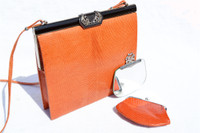Orange JEWELED 1970's LIZARD Skin Shoulder Bag - LA JEUNESSE