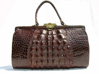 ESPRESSO Brown 1930's Edwardian Style HORNBACK Alligator Handbag