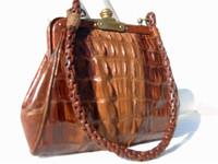 Early 1900's PETITE Cognac Alligator TAIL Skin Handbag