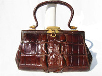 1930's Petite EDWARDIAN Hornback Alligator Handbag