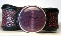 New! *Purple* Crab AGATE & Genuine Stingray Skin Leather CUFF
