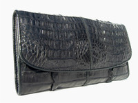 New! BLACK Ladies Double HORNBACK Crocodile Skin Checkbook Wallet
