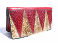 1950's Quilted BOA & COBRA Snake Skin PORTFOLIO Travel Wallet