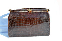 Dk. Chocolate 1950's-60's Structured Alligator Belly Skin Handbag - Python Snake Skin Lining!
