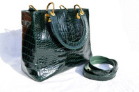 Stunning 1990's DARK GREEN ALLIGATOR Belly Skin Handbag or SHOULDER Bag CLUTCH - HELENE