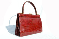 Timeless 1960's RED Crocodile Porosus Belly Skin Handbag - SAKS FIFTH AVENUE