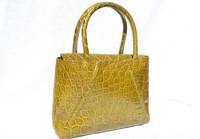 OLIVE GREEN Early 2000's ALLIGATOR Belly Skin Handbag Tote - Elizabeth